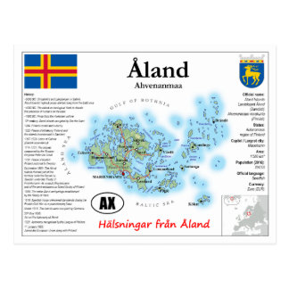 Åland Islands (Aland) Map Postcard