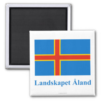 Aland Islands Flag with Name in Swedish Magnet