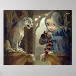 Alannah and the Gargoyle ART PRINT gothic fairy