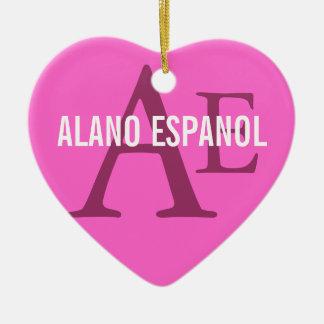 Alano Espanol Breed Monogram Ceramic Heart Decoration