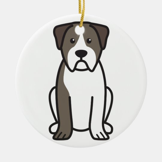 Alapaha Blue Blood Bulldog Dog Cartoon Christmas Ornament