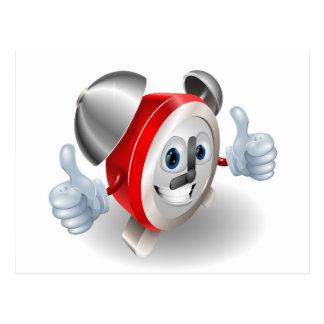 Alarm clock character mascot post cards