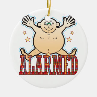 Alarmed Fat Man Round Ceramic Decoration