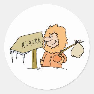 Alaska AK Alaskan Eskimo Vintage Travel Souvenir Round Sticker