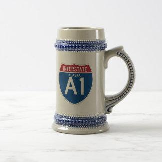 Alaska AK I-A1 Interstate Highway Shield - Beer Stein