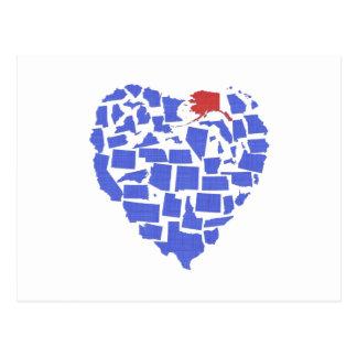 Alaska American States Heart Mosaic Blue Postcard