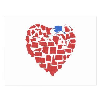 Alaska American States Heart Mosaic Red Postcard