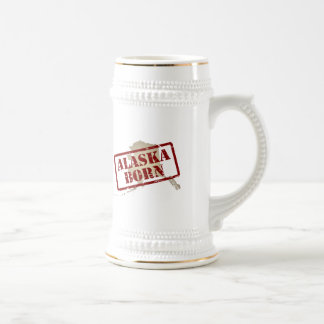 Alaska Born - Stamp on Map Coffee Mug