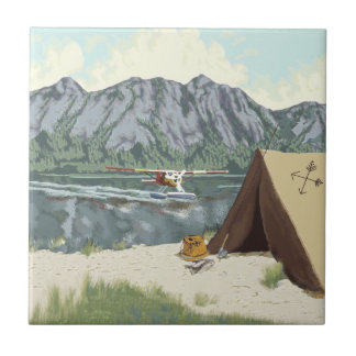 Alaska Bush Plane And Fishing Travel Tile
