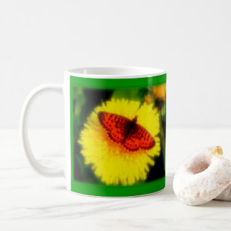 ALASKA BUTTERFLY ON DANDELION AT SUMMER SOLSTICE. COFFEE MUG