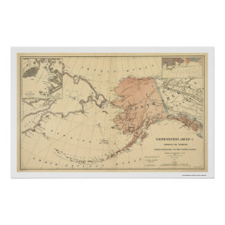 Alaska Ceded By Russia Map 1867 Poster