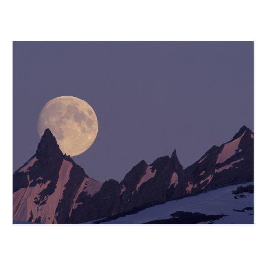 Alaska, Chugach Mountains Full moon rises Postcard