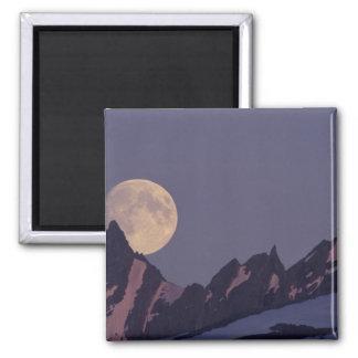Alaska, Chugach Mountains Full moon rises Square Magnet