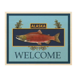 Alaska Combat Fisherman Badge - Welcome Wood Wall Art