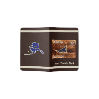 Alaska Dog Sled Mail Postage Stamp Passport Holder