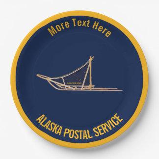 Alaska Dog Sled Postal Carrier Paper Plate