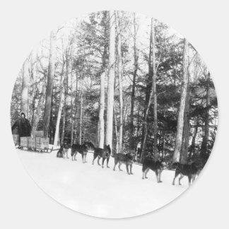 Alaska Dog Sledding Classic Round Sticker