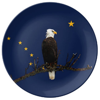Alaska Eagle And Flag Porcelain Plates
