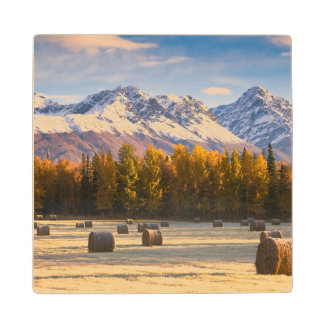 Alaska Farming Wood Coaster