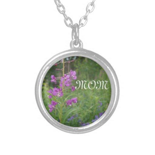 Alaska Fireweed wildflower Personalized Necklace