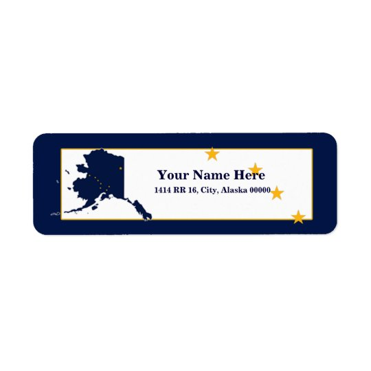 Alaska Flag Map Design Return Address Label