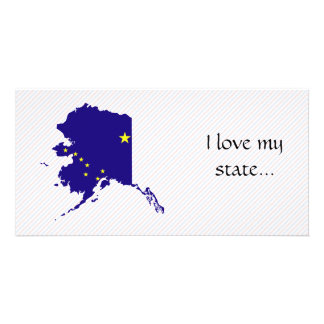 Alaska Flag Map Photo Greeting Card