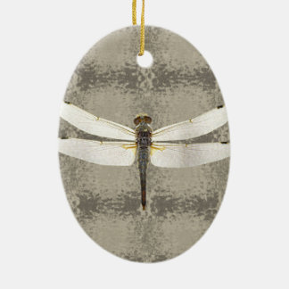 Alaska Four Spot Skimmer Dragonfly Ceramic Oval Decoration