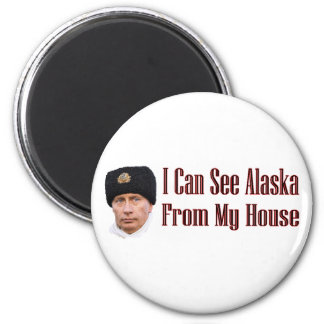 Alaska from my house 6 cm round magnet