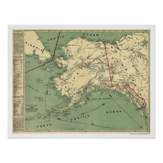 Alaska Gold Fields Map 1897 Poster