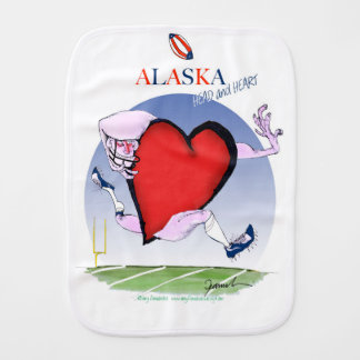 alaska head heart, tony fernandes baby burp cloth