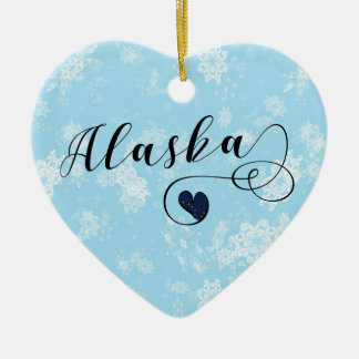 Alaska Heart, Christmas Tree Ornament, Alaskan Christmas Ornament