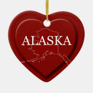 Alaska Heart Map Christmas Ornament