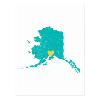 Alaska Heart postcard (turquoise) - Customizable!