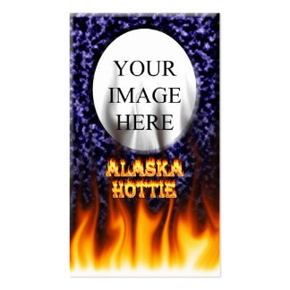 Alaska Hottie fire and flames Blue marble. Pack Of Standard Business Cards