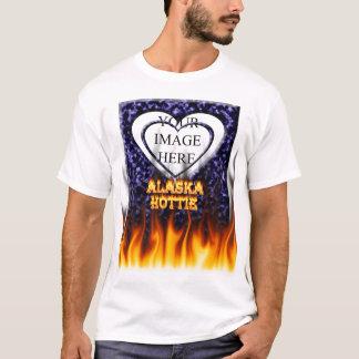 Alaska Hottie fire and flames Blue marble. T-Shirt