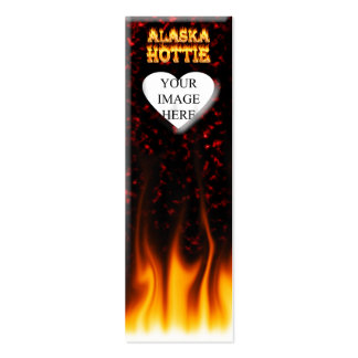 Alaska hottie fire and flames red marble business card