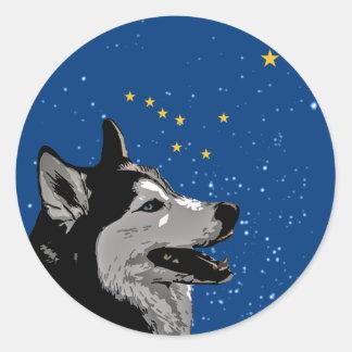 Alaska Husky Round Sticker