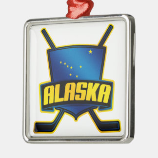 Alaska Ice Hockey Flag Silver-Colored Square Decoration