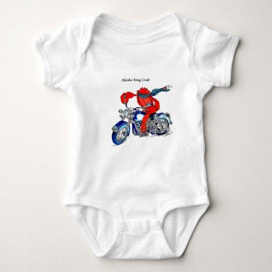 Alaska King Crab on Motorcycle Baby Bodysuit