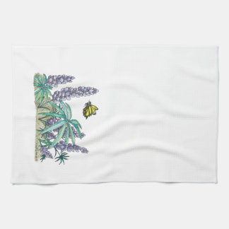 Alaska Lupine Watercolor Tea Towel