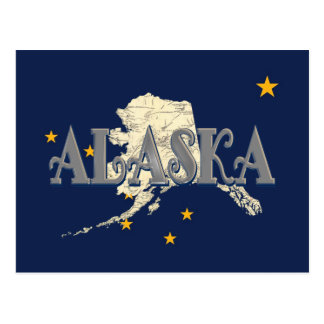 Alaska Map State Flag Post Card
