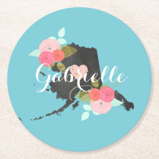 Alaska Monogram State Watercolor Floral & Heart Round Paper Coaster