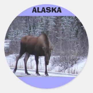 Alaska Moose Classic Round Sticker