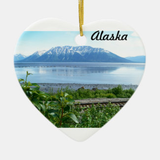 Alaska Mountain along Turnagain Arm Ceramic Heart Decoration