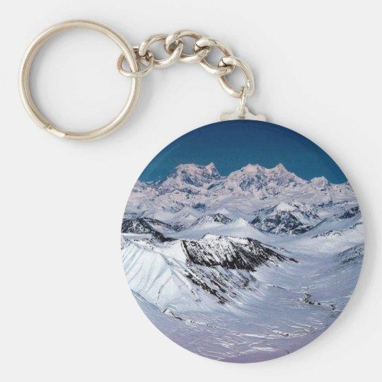 Alaska Mountain Range - Aerial View Basic Round Button Key Ring