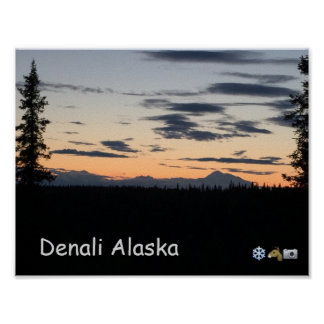 Alaska Mountain Range Sunset Poster