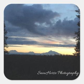 Alaska Mountain Range Sunset Square Sticker