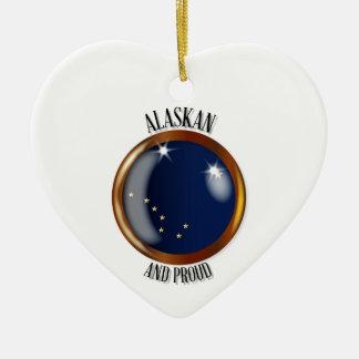 Alaska Proud Flag Button Ceramic Heart Decoration