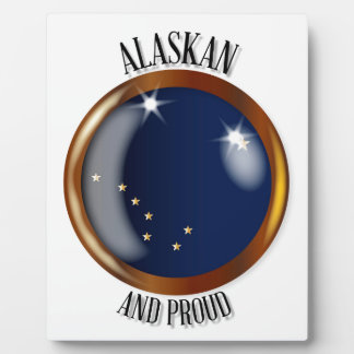 Alaska Proud Flag Button Display Plaques