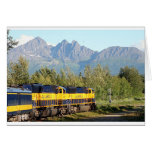Alaska Railroad locomotive engine & mountains Greeting Card